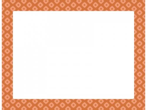 茶色の和柄・鹿の子(かのこ)の囲みフレーム飾り枠イラスト