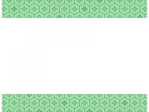 緑色の和柄・亀甲花菱の上下フレーム飾り枠イラスト