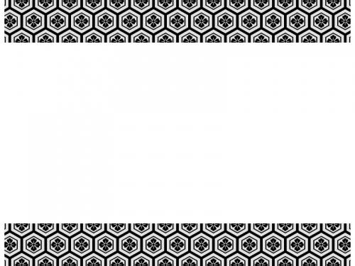 灰色と黒の和柄・亀甲花菱の上下フレーム飾り枠イラスト