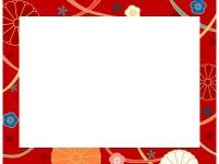 赤色の和柄・菊と梅の囲みフレーム飾り枠イラスト
