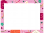 桃色の和柄・菊と梅の囲みフレーム飾り枠イラスト