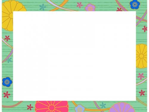 緑色の和柄・菊と梅の囲みフレーム飾り枠イラスト