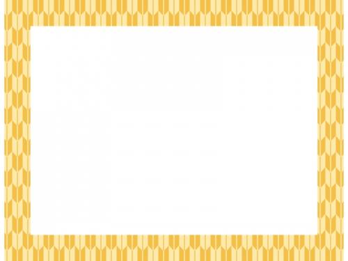 黄色の和柄・矢絣(やがすり)の囲みフレーム飾り枠イラスト