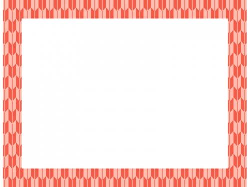 朱色の和柄・矢絣(やがすり)の囲みフレーム飾り枠イラスト