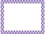 紫色の和柄・矢絣(やがすり)の囲みフレーム飾り枠イラスト