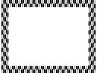灰色と黒の和柄・矢絣(やがすり)の囲みフレーム飾り枠イラスト