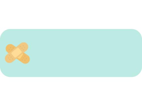 絆創膏の水色横長フレーム飾り枠イラスト