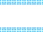 青いタイルの上下フレーム飾り枠イラスト