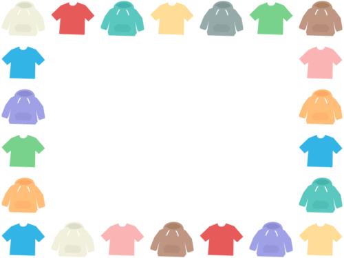 洋服・Tシャツとパーカーの囲みフレーム飾り枠イラスト