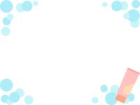 洗顔料と四隅の泡のフレーム飾り枠イラスト