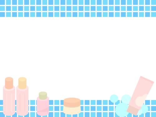 洗顔料や基礎化粧品の青色上下フレーム飾り枠イラスト