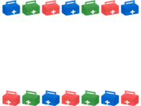 赤青緑の救急箱の上下フレーム飾り枠イラスト