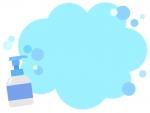 ハンドソープと泡のもこもこフレーム飾り枠イラスト