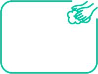 シンプルな手洗いのミントグリーン色フレーム飾り枠イラスト