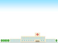 病院と空の上下フレーム飾り枠イラスト