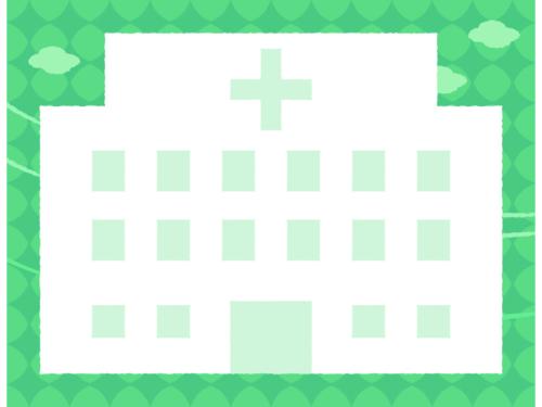 病院の形の緑色フレーム飾り枠イラスト
