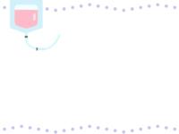 点滴の薄紫色の点線上下フレーム飾り枠イラスト