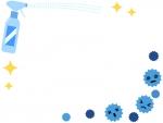 除菌スプレーとばい菌のフレーム飾り枠イラスト