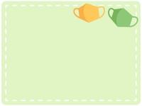 2個のマスクの黄緑色フレーム飾り枠イラスト