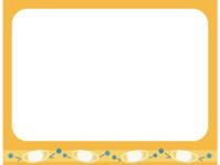 マスクとウイルスのオレンジ色フレーム飾り枠イラスト