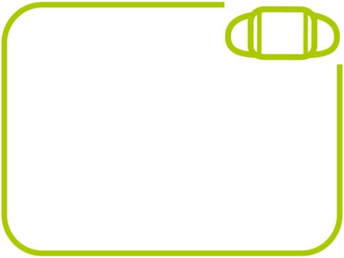 シンプルなマスクの黄緑色フレーム飾り枠イラスト