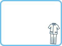 医療白衣の水色フレーム飾り枠イラスト