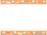 飲み薬や体温計のオレンジ色上下フレーム飾り枠イラスト