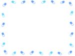 シンプルなカプセルの薬の青色系囲みフレーム飾り枠イラスト