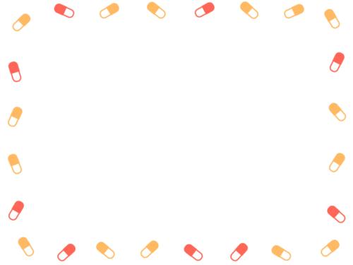 シンプルなカプセルの薬の暖色系囲みフレーム飾り枠イラスト