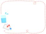 飲み薬の朱色点線フレーム飾り枠イラスト