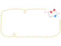 飲み薬の横長黄色点線フレーム飾り枠イラスト