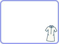 ナース服(ウェア)の紫色フレーム飾り枠イラスト