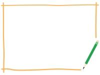 鉛筆の黄色の手書き風フレーム飾り枠イラスト
