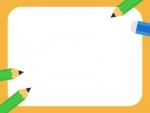 緑色の鉛筆と消しゴムの黄色フレーム飾り枠イラスト