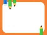 緑色の鉛筆と消しゴムのオレンジ色フレーム飾り枠イラスト