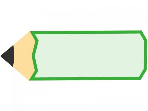 緑色の鉛筆の形のフレーム飾り枠イラスト