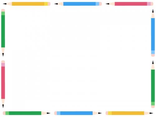 鉛筆の囲みフレーム飾り枠イラスト