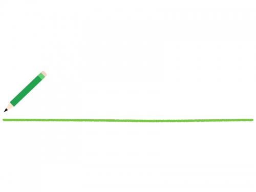 緑色の鉛筆と下線のフレーム飾り枠イラスト