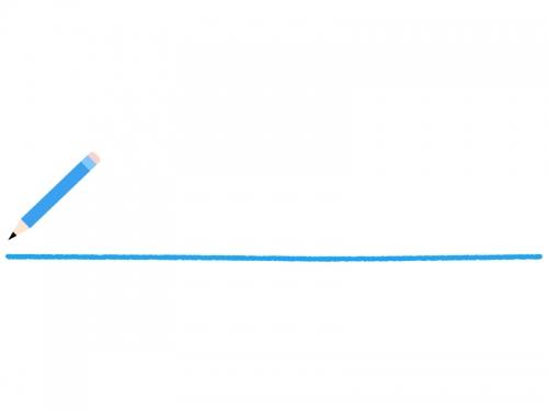 水色の鉛筆と下線のフレーム飾り枠イラスト