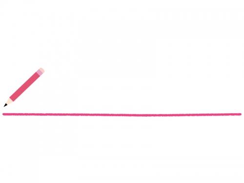 ピンク色の鉛筆と下線のフレーム飾り枠イラスト