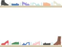 棚に並んだおしゃれな靴の上下フレーム飾り枠イラスト