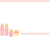 基礎化粧品のピンク色の上下フレーム飾り枠イラスト