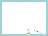 注射器とワクチンのフレーム飾り枠イラスト
