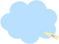 体温計の青色もこもこフレーム飾り枠イラスト