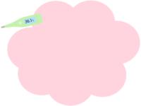 体温計のピンク色もこもこフレーム飾り枠イラスト
