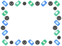 除菌シートとばい菌の囲みフレーム飾り枠イラスト
