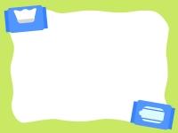 青い除菌シートの黄緑色フレーム飾り枠イラスト