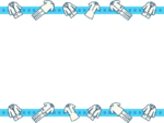 白衣とナース服(ウェア)の青色上下フレーム飾り枠イラスト