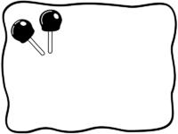 あんず飴の白黒手書き風フレーム飾り枠イラスト