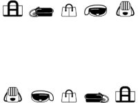 おしゃれなバッグの白黒上下フレーム飾り枠イラスト